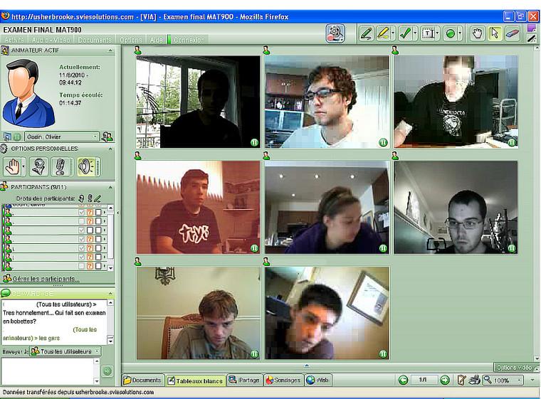 Des étudiantes et étudiants passent leurs examens sous l'oeil de leurs caméras web.