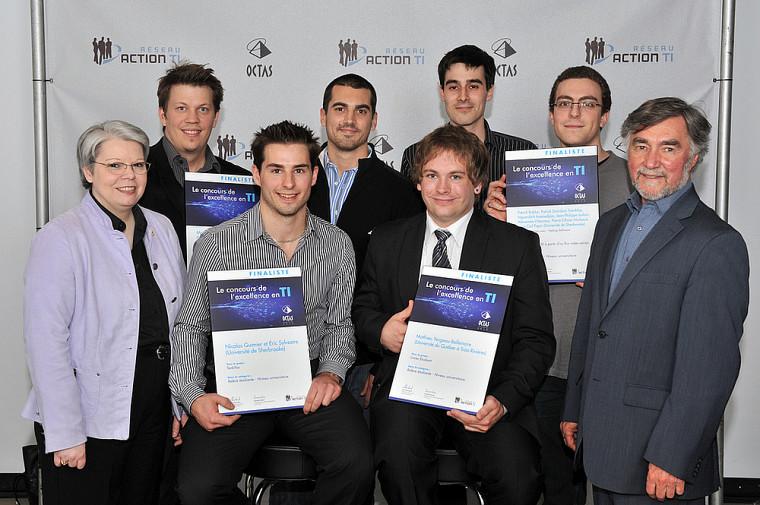 Les finalistes de la catégorie Relève étudiante, dont trois groupes de l'UdeS.