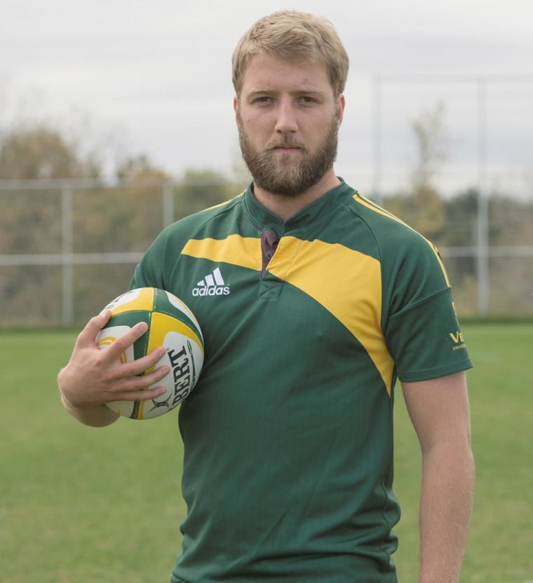 Le vétéran de l'équipe Vert&Or, Sébastien Grondin, a remporté le prix du leadership et de l'engagement social et communautaire dans le circuit de rugby masculin du RSEQ.