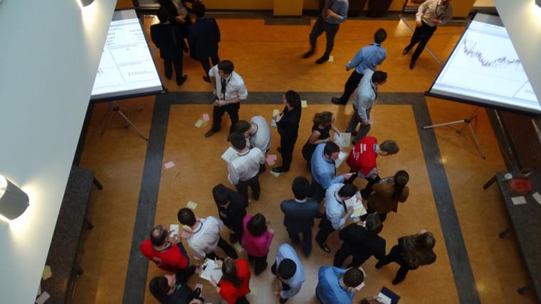 Les 27e Jeux du Commerce étaient présentés sur le Campus principal de l'UdeS du 2 au 5 janvier dernier. Sur cette photo, l'épreuve de simulation boursière.