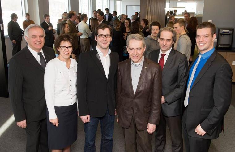 Roger Noël, la rectrice de l'Université de Sherbrooke Luce Samoisette, Matthew Cassar, Laurent Lemaire, François Coderre et David Bureau étaient au cocktail d'ouverture de la Quinzaine de l'entrepreneuriat Cascades.