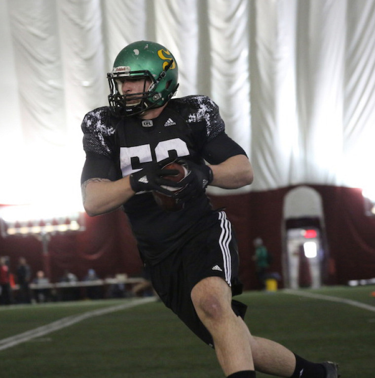 Anthony Gosselin en action lors des tests régionaux d'évaluation de la LCF, tenus à Montréal le 10 mars dernier.