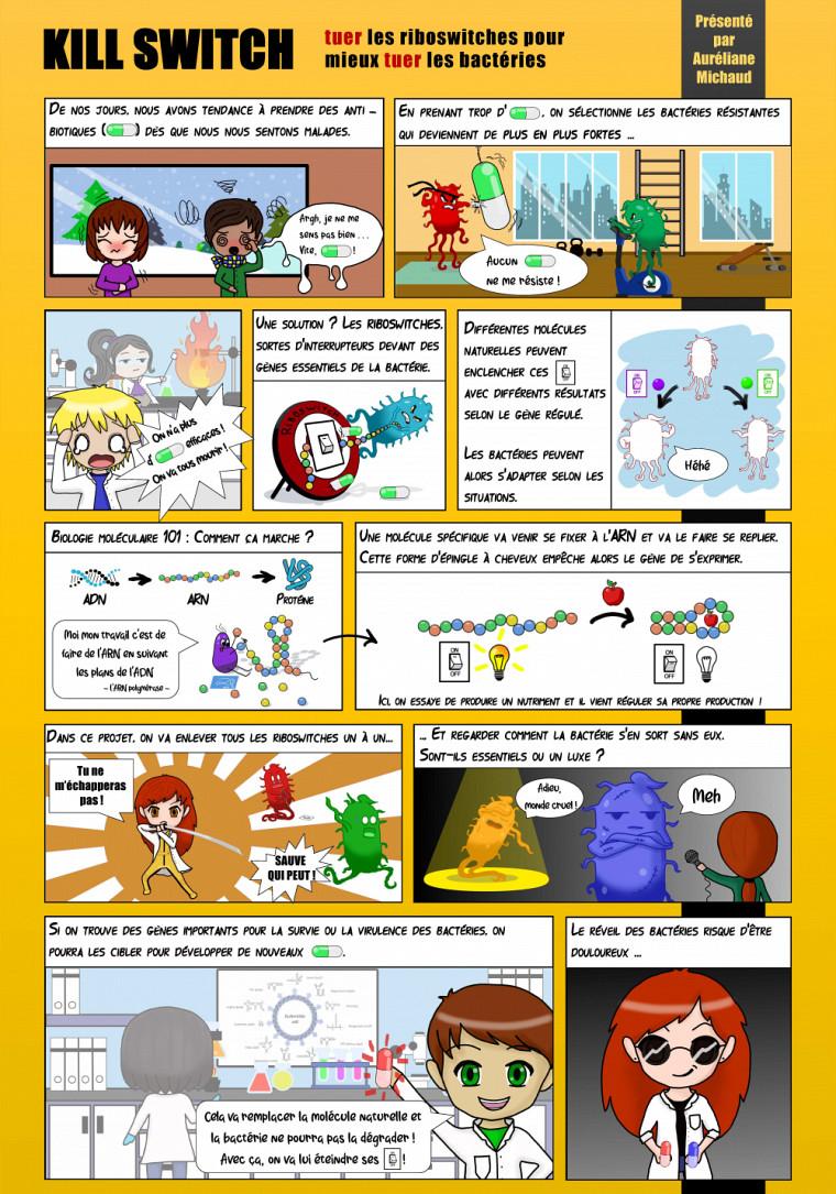 Bande dessinée faite par Auréliane Michaud, étudiante au doctorat en biologie, dans le cadre du cours EFD 919 Communication scientifique par la bande dessinée.