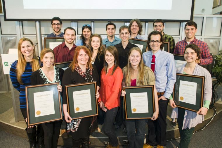 Quatre personnalités et quatre groupes ont reçu des prix d'honneur, le 13mars, à l'occasion du Défi étudiant 2013.Photo: François Lafrance