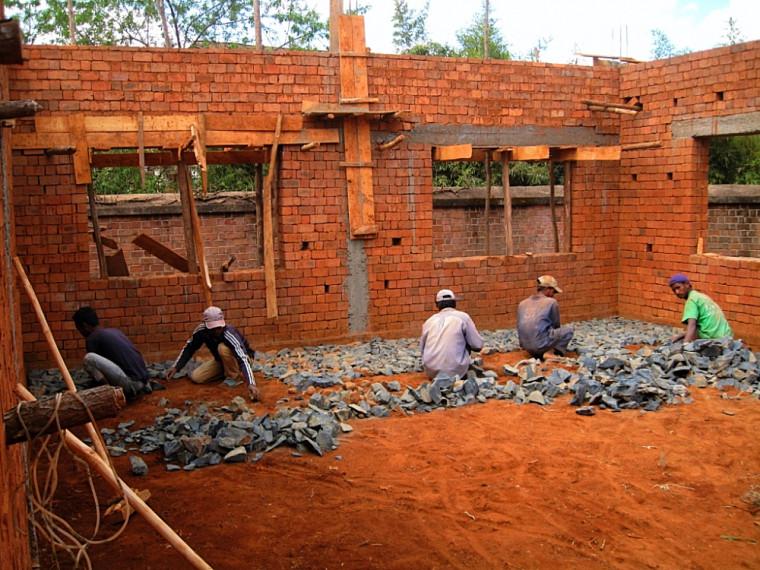 L'école lors de sa construction en 2014.
