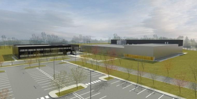 Esquisse architecturale du bâtiment du C2MI en construction dans le technoparc de Bromont.