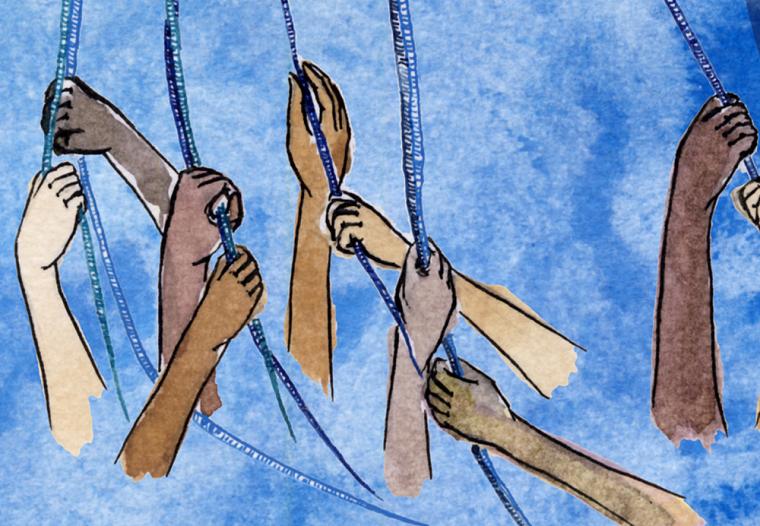 Extrait de l'affiche de l'événement «Femmes et féminismes en dialogue», créée à partir d'une oeuvre de Maïté Simard.