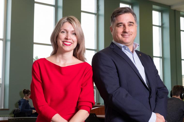 Marie-Eve Carignan et Marc D. David, professeurs en communication.