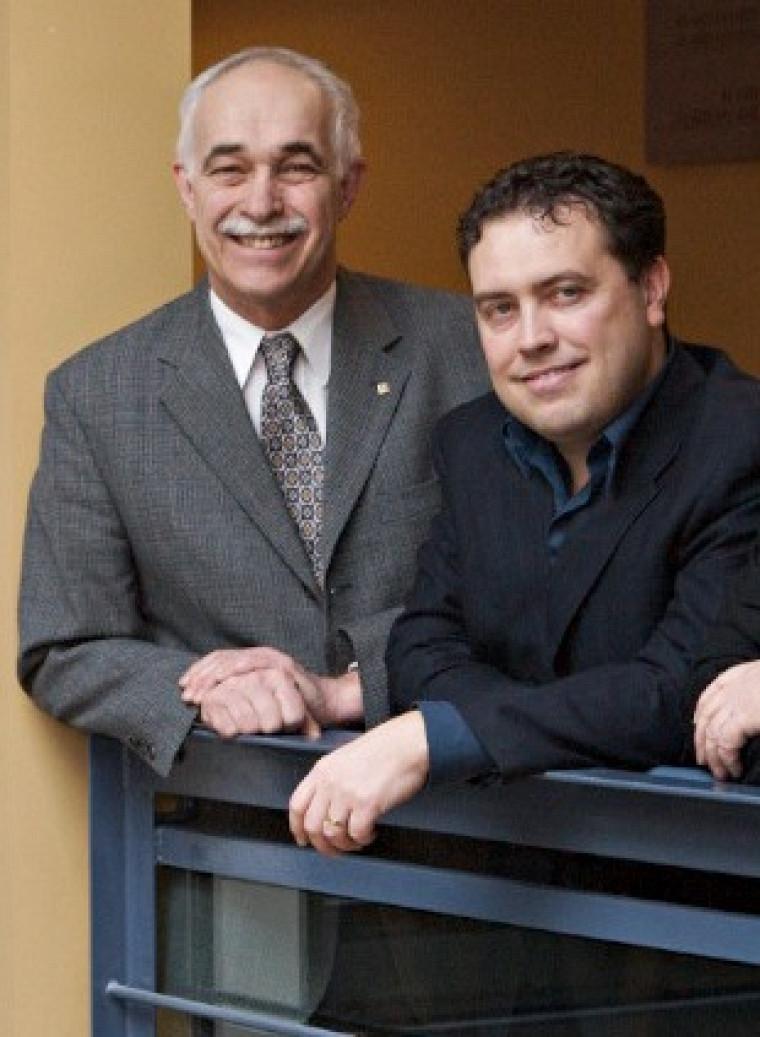 Jacques Préfontaine et Jean Cadieux, de la Chaire Desjardins en gestion du développement durable de l'Université de Sherbrooke.