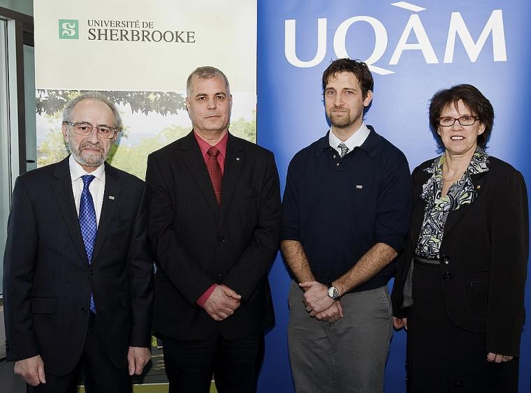 Claude Corbo, recteur de l'UQAM, les titulaires Abdelkrim Hasni et Patrice Potvin, ainsi que Luce Samoisette, rectrice de l'UdeS.