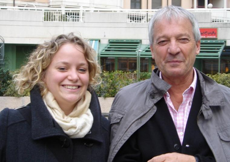 Constance Denis lors d'une rencontre avec Philippe Perrenoud, sociologue en éducation rattaché à l'Université de Genève