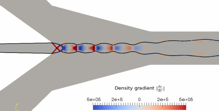 Simulation numérique avancée d'un éjecteur transcritique au CO2 par la librairie en accès libre OpenFOAM. Un éjecteur est une double tuyère, sans pièce mobile, utilisée ici pour réduire les pertes énergétiques liées à la vanne de détente. Ce champ du gradient de densité permet de mettre en évidence les ondes de choc et d'expansion à la sortie de la tuyère primaire. La ligne noire représente la ligne sonique.