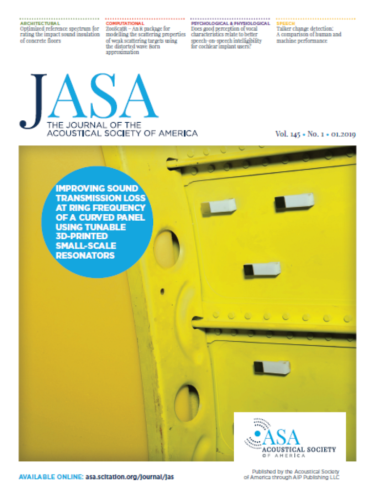 L'article scientifique vulgarisé par Olivier a fait la couverture du Journal of the Acoustical Society of America.