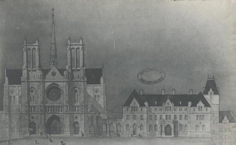 Dessin de la façade est de la Basilique-Cathédrale Saint-Michel de Sherbrooke