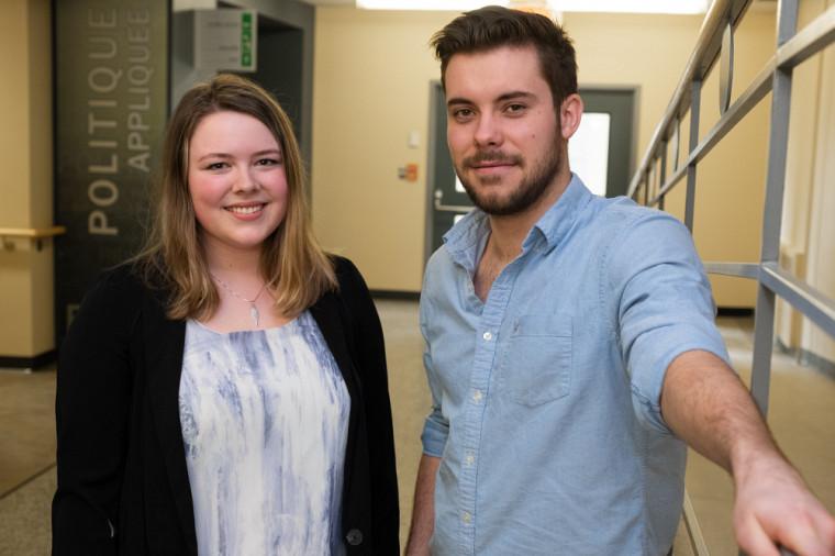 Catherine Pelchat et Marc-Antoine Leblanc, étudiants au baccalauréat en politique appliquée, vivront cette expérience unique cet été avec des étudiants de plusieurs autres pays.
