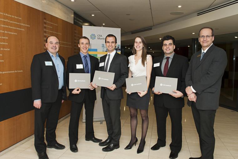 Philippe Gingras, CFA Québec, Nicolas Poirier, Charles Fournier, Marie Gravel, Laurent-Olivier Villiard et Jacques Lussier, CFA Montréal