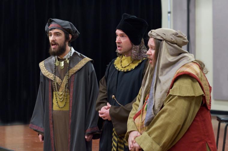 Les Rois mages Melchior (Étienne Isabel), Balthazar (Cormac Eby) et Kaspar (Jean-Luc Poulin)