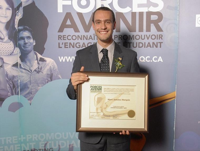 Marc-Antoine Marquis, étudiant en médecine, était finaliste dans la catégorie Personnalité 1er cycle.