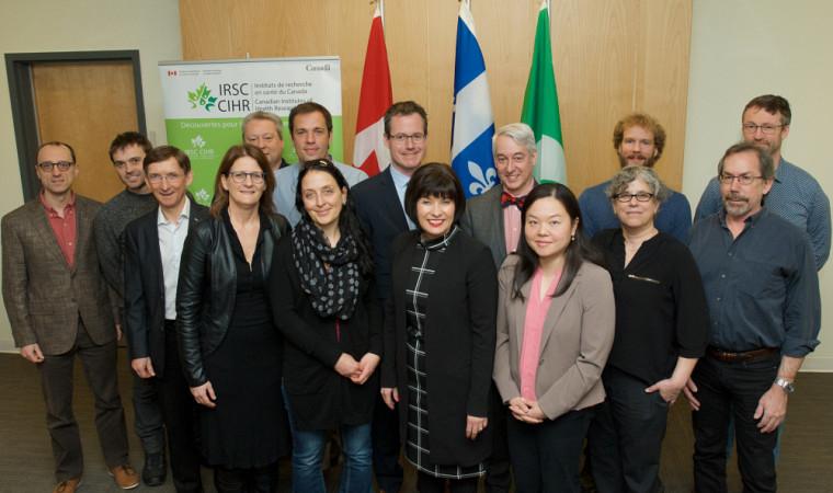 Plusieurs titulaires de subvention Projet IRSC de l'UdeS étaient réunis lors de l'annonce.