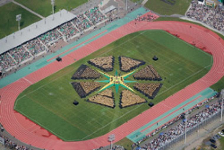 Dans un geste solennel, les 3776 diplômés ont été investis  des couleurs de l\'Université de Sherbrooke, soit le vert et l\'or.