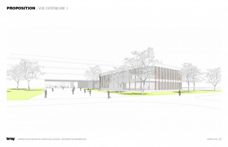 Plan montrant la vue extérieure du futur Carrefour du savoir.