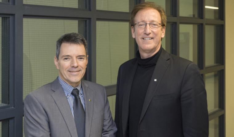 Michel Noël, vice-président et président par intérimde l'APCUS etFrançois Dubé, directeur général de La Fondation.