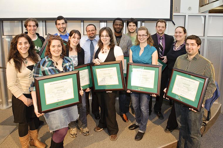 Les lauréates et lauréats des prix du Défi étudiant 2010 et des bourses de la FEUS, du REMDUS et du PAEIC