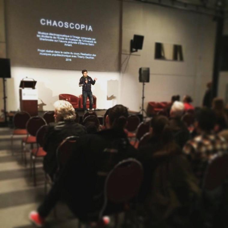 Chaoscopia - Immersion électro-visuelle   Présentation interactive des projets de mi-session du cours MUE 421 Réalisation des musiques pop/électronique, produits à partir des oeuvres visuelles d'Étienne Saint-Amant.