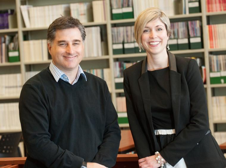 Marc D. David et Marie-Ève Carignan, du Département de lettres et communications