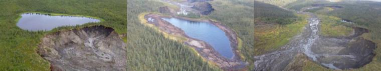 Un lac «disparaît» à la suite de l'effondrement du sol en bordure, à cause de la fonte du pergélisol