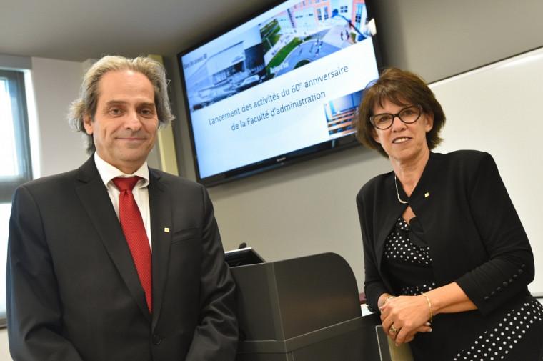 François Coderre, doyen de la Faculté d'administration en compagnie de la rectrice de l'UdeS Luce Samoisette.