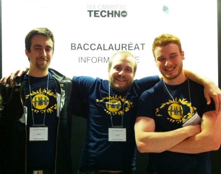 Michael Bernier, Louis-Philippe Ledoux et Charles Landry-Forcier, diplômés au baccalauréat en sciences de l'image et des médias numériques de l'UdeS.