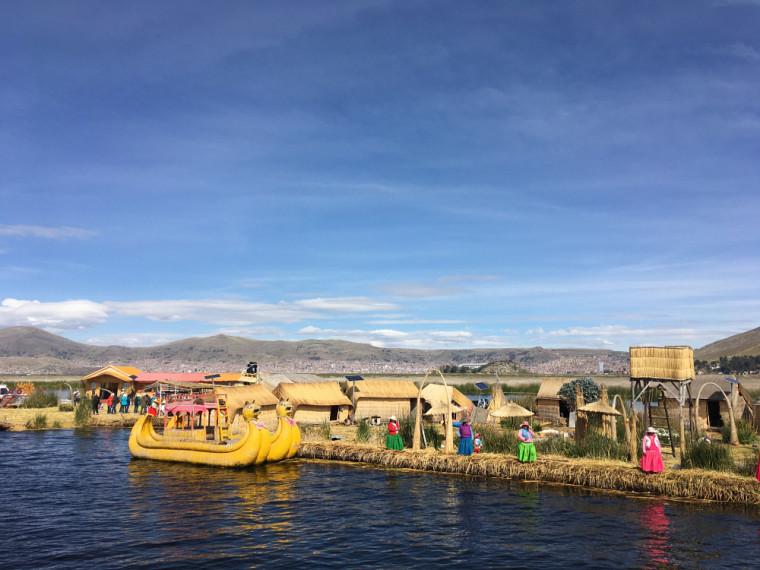 Les îles flottantes des Uros sur le lac Titicaca.