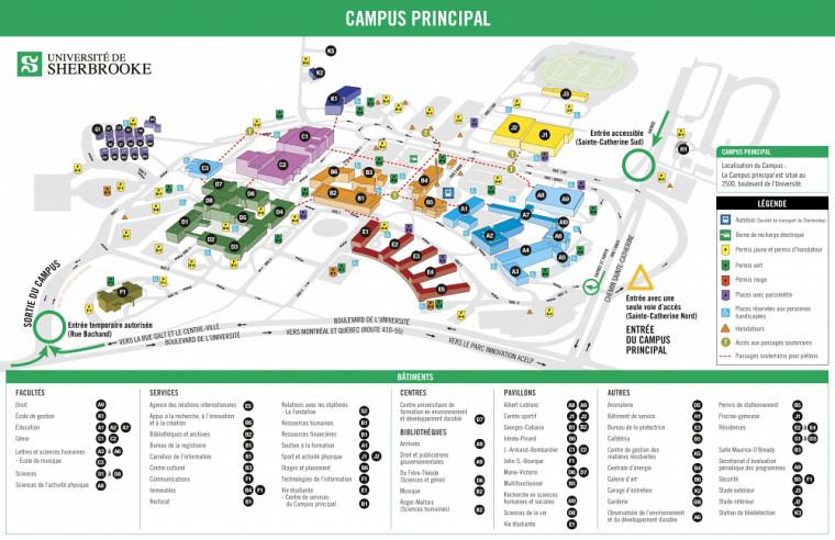 Plan des accès routiers au Campus principal durant la durée des travaux.