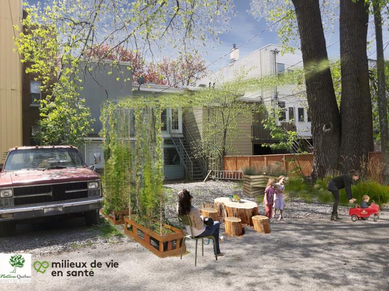 Image de synthèse présentant le projet d'un espace collectif dans une ruelle.Illustration: Marie-Christine Mathieu, Nature Québec