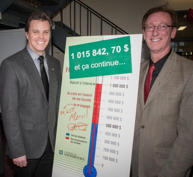 C'est un montant de 1015842,70$ qui s'est affiché au thermomètre lors du dévoilement officiel du résultat de la campagne interne.