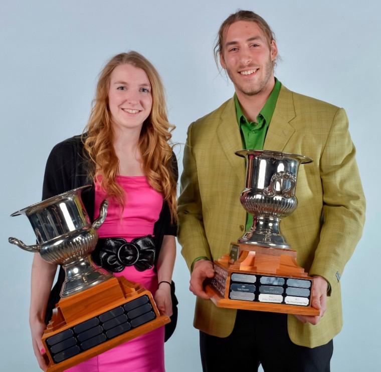 Les recrues de l'année à l'UdeS en 2012-2103: Marie-Ève Jacques (soccer) et Marc-Antoine Lafrenaye-Dugas (athlétisme).