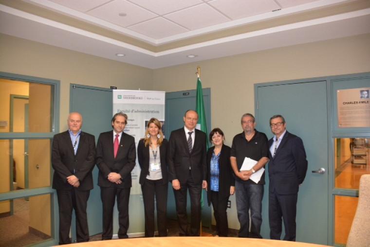 Dans l'ordre, Bernard Augé, François Coderre, Irène Georgescu, Alexandre Vernhet, Chantale Roy, Julien Bilodeau et Gérald Naro.