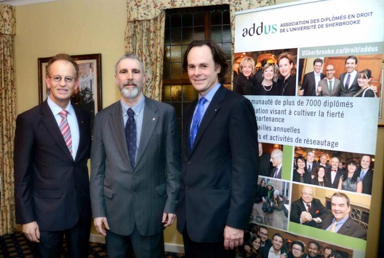 Le président d'honneur, Me Nicola Di Iorio, le président de l'ADDUS, Me Neville-Warren Cloutier et le doyen de la Faculté de droit, le Pr Sébastien Lebel-Grenier.
