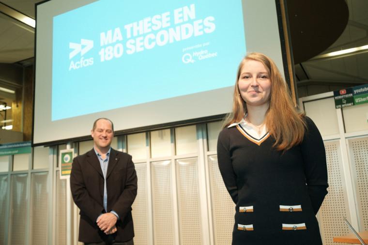 Solenne Ritaine en présence du professeurJean-Pascal Lemelin, vice-recteur adjoint à la recherche et aux études supérieures, qui a animé le concours.
