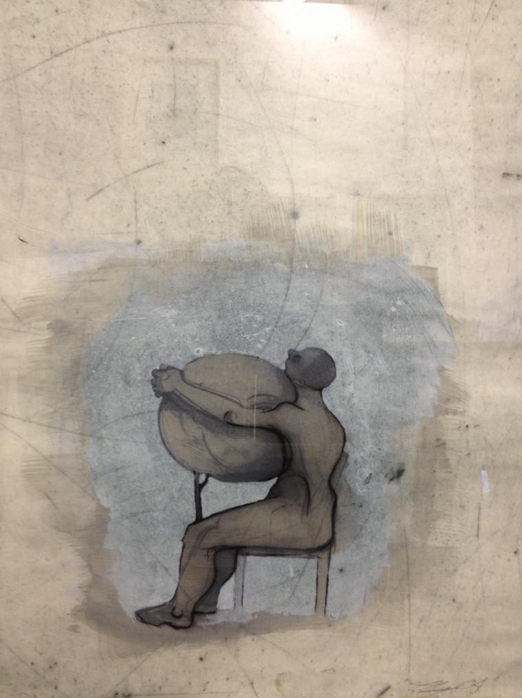 Louis-Pierre Bougie, Sphère, 2004. Techniques multiples et passage sous presse, 65 x 50 cm.