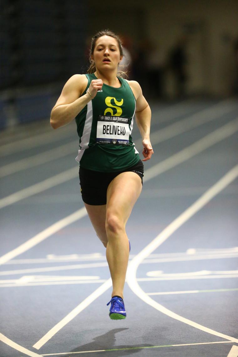 La sprinteuse du Vert & Or Émy Béliveau.