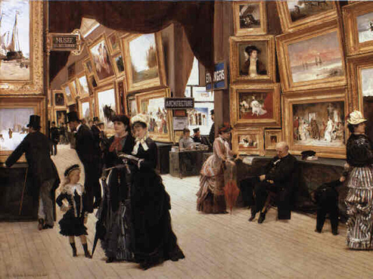 Édouard Joseph Dantan (1848-1897) a représenté la muséographie du 19esiècle dans son oeuvre Un coin du salon en1880.