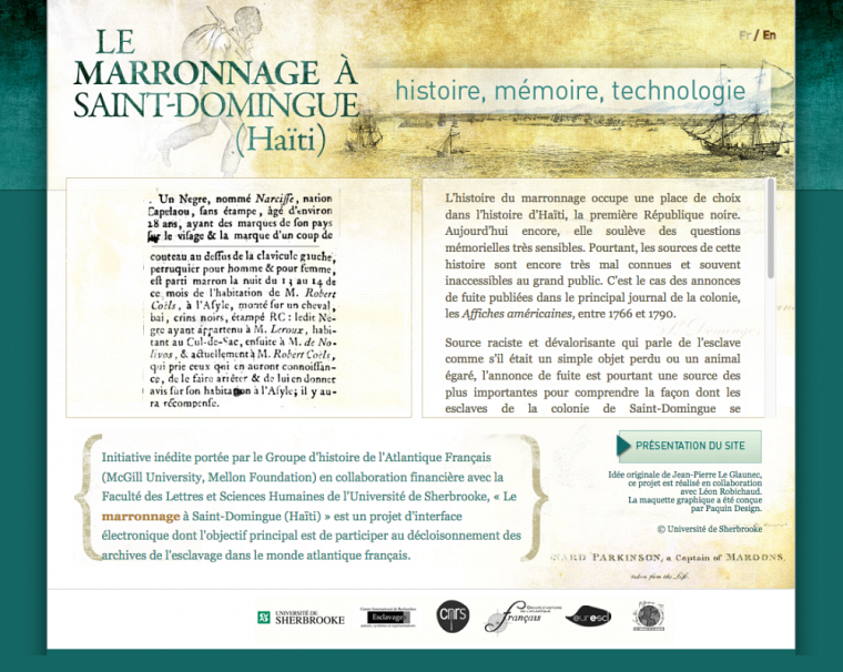Page d'accueil du site « Le marronnage à Saint-Domingue (Haïti) »