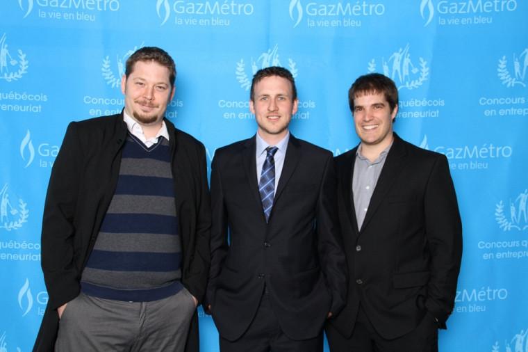 Les grands gagnants du Concours québécois en entrepreneuriat 2013,Frédéric Leduc, Simon Gaudreau et Jean-François Larrivée lors de la remise des prix.