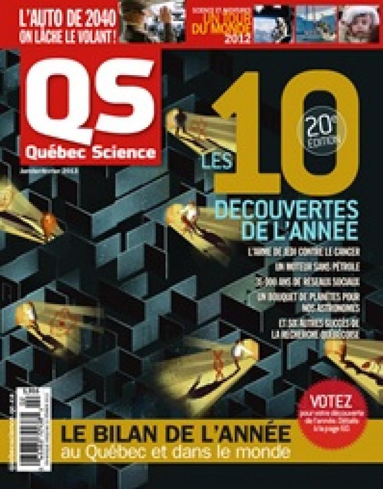 La page couverture du magazine QuébecScience de janvier.