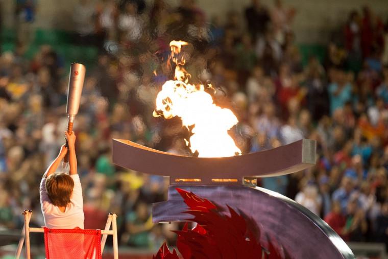 La vasque des Jeux du Canada dans le stade de l'Université de Sherbrooke lors des cérémonies d'ouverture du 2 août.