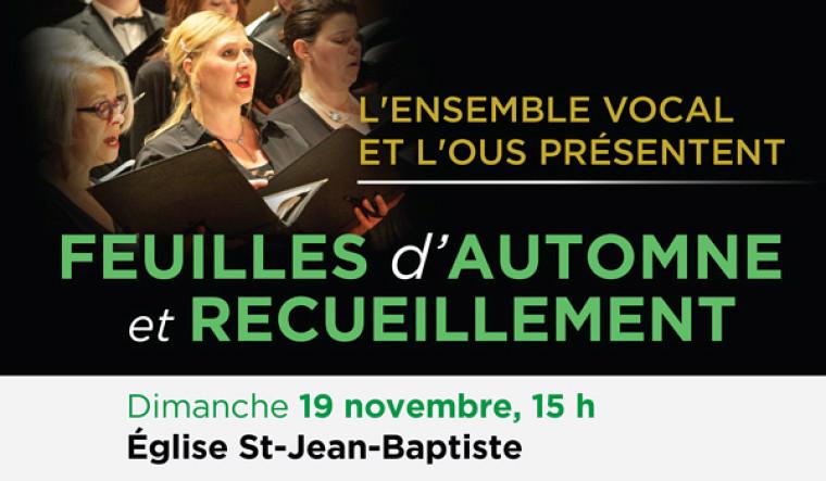 C'est dans l'esprit de la douce saison automnale que s'entame la programmation des concerts de l'École de musique de l'Université de Sherbrooke ce 19 novembre prochain à 15h.