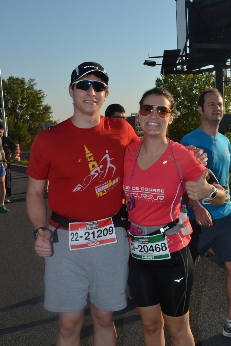 Audrey et Simon, au marathon de Montréal.