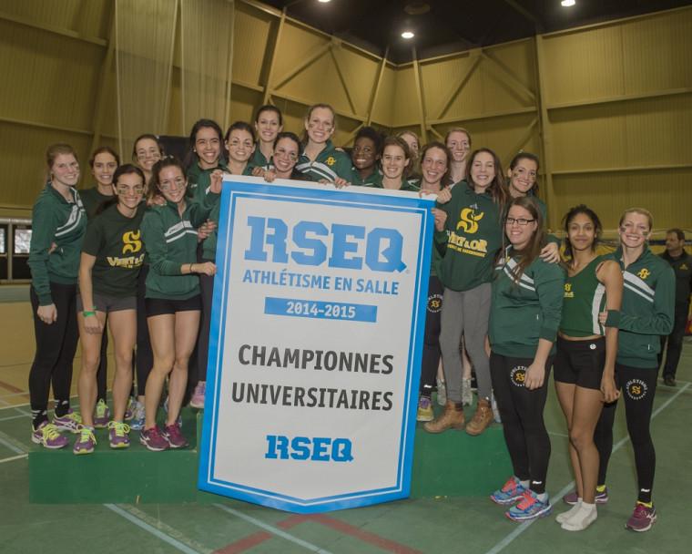Le Vert & Or: champion du RSEQ 2014-2015 en athlétisme féminin.